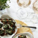 mushrooms garlic kale sauce