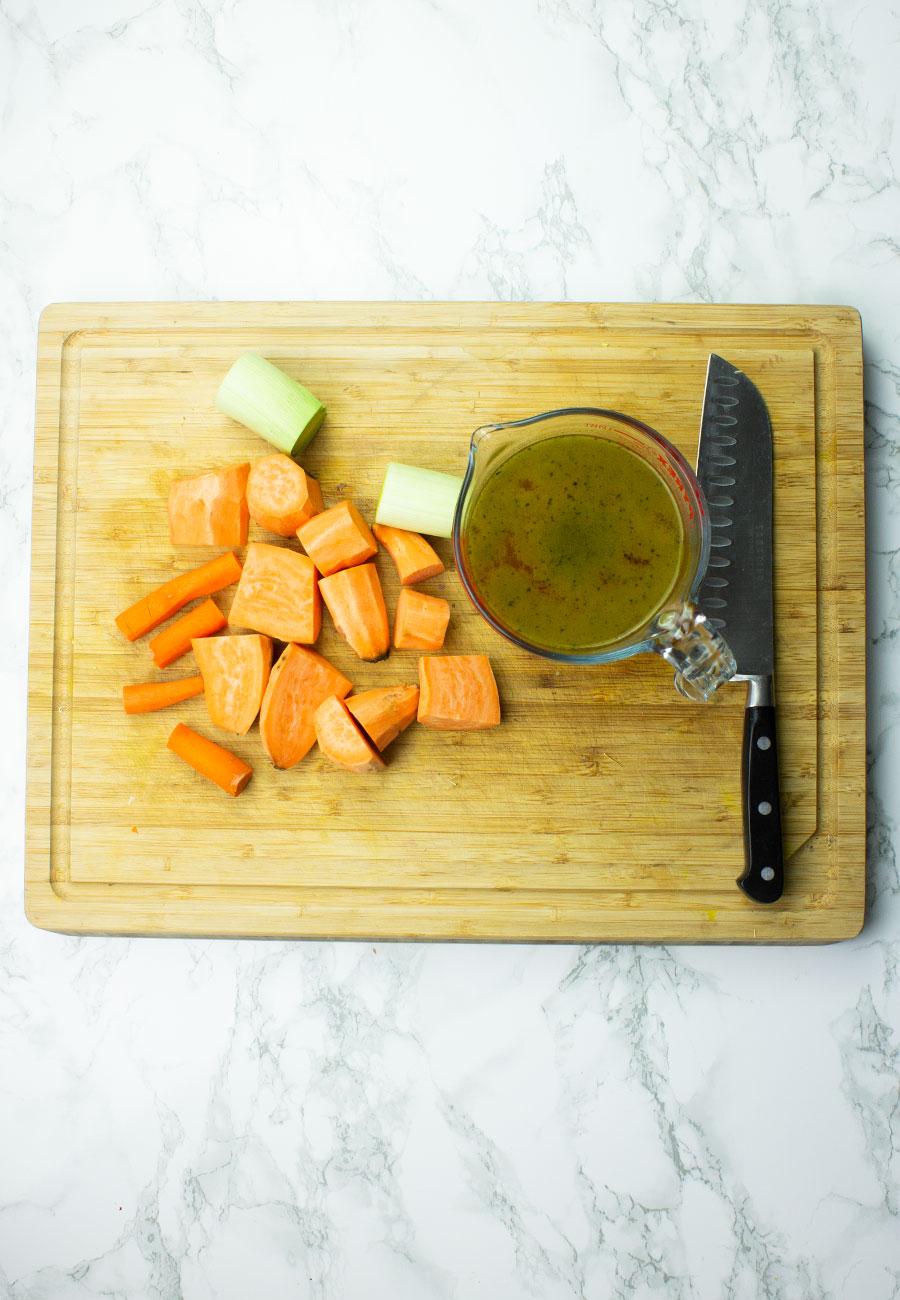 Spiced Sweet Potato & Leek Soup with Roasted Garlic