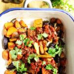 Vegan root vegetable chilli