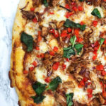A healthy sloppy jackfruit giuseppe pizza
