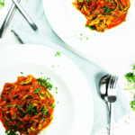 Roasted tomato and peppers sauce with mint served with courgetti