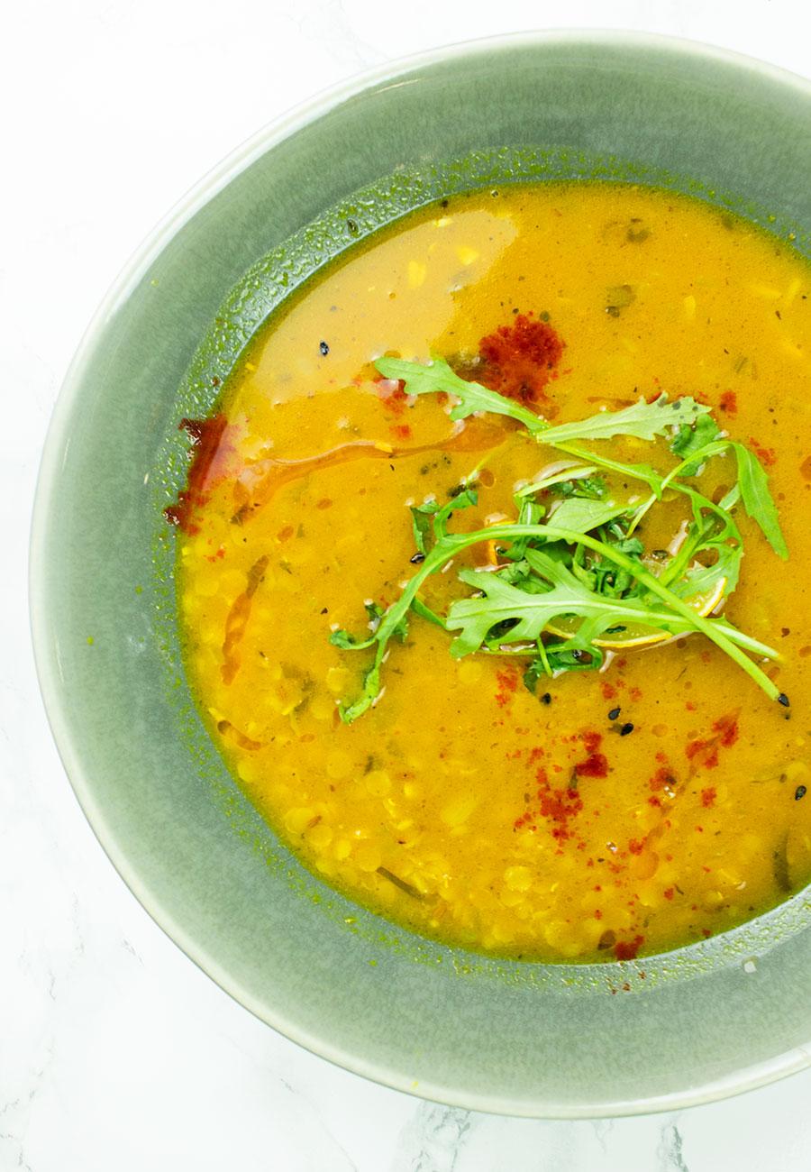 Lemony dahl soup in a bowl