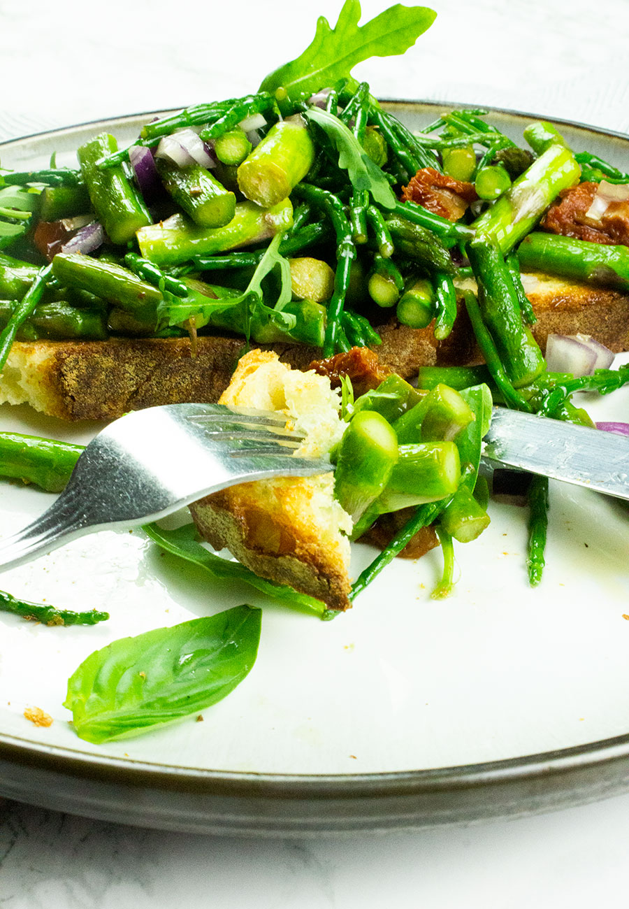 healthy bruschetta on a plate