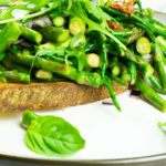 Easy green bruschetta presented on a plate