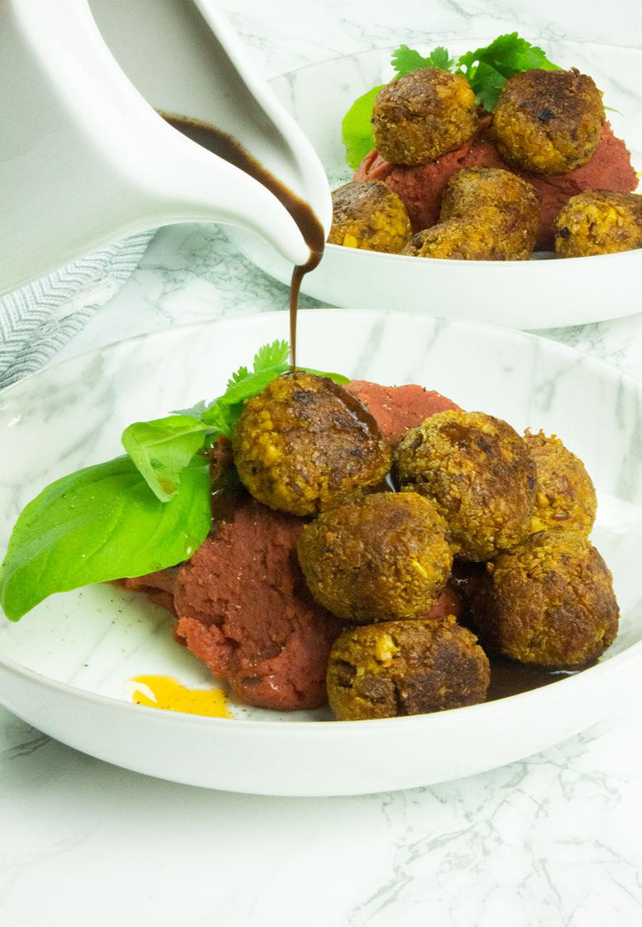 Healthy vegan tofu meatballs with gravy