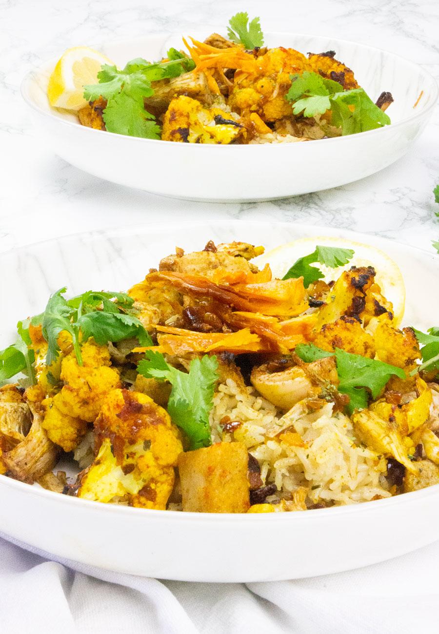 Vegan biryani recipe with jackfruit done in under 30 minutes.