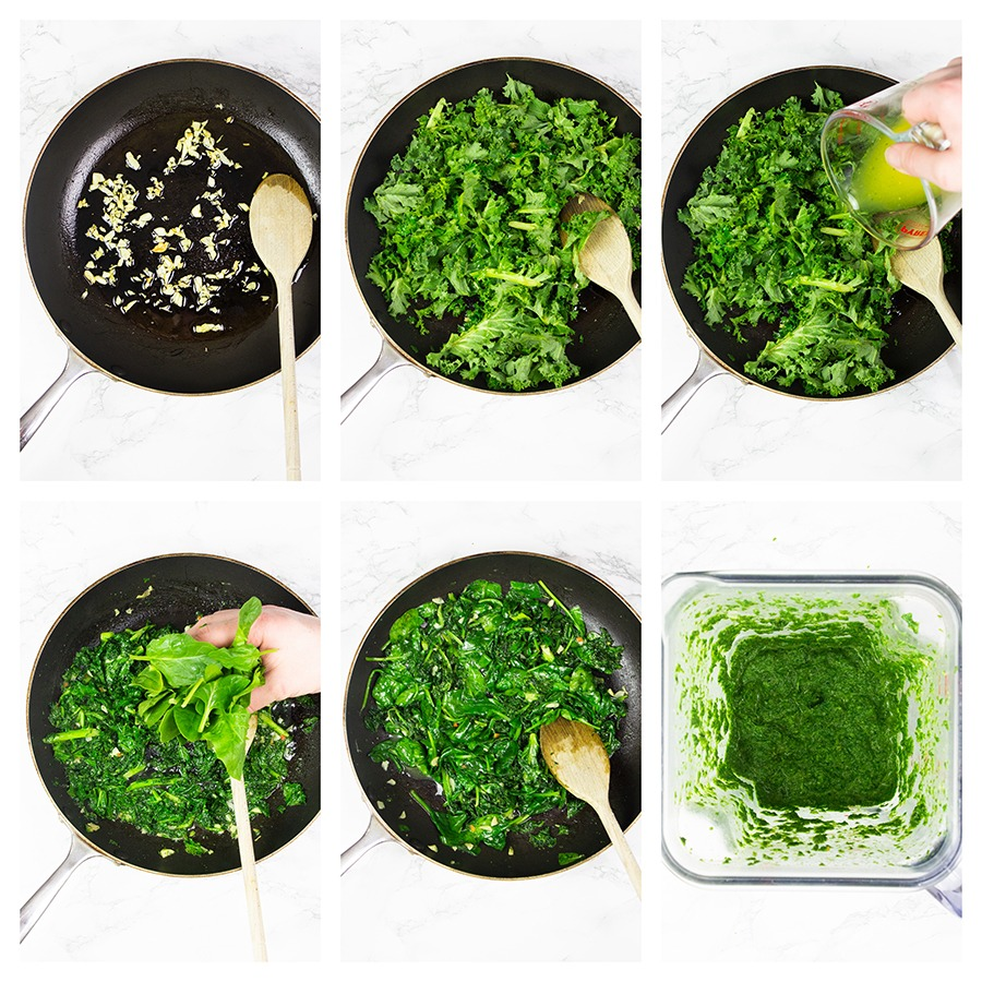 Step by step garlic green sauce