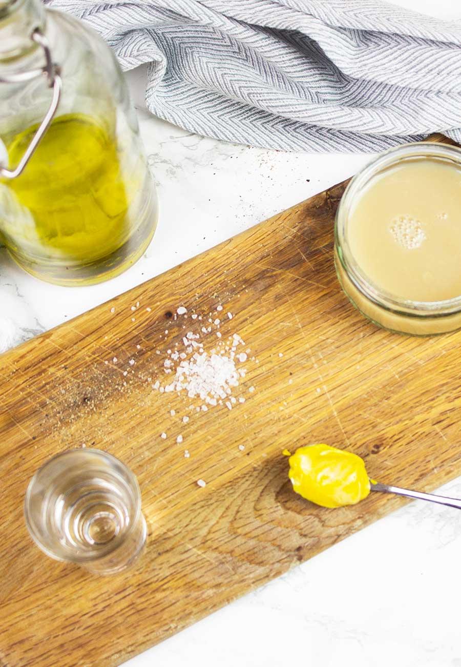 oil, aquafaba, mustard, vinegar, salt