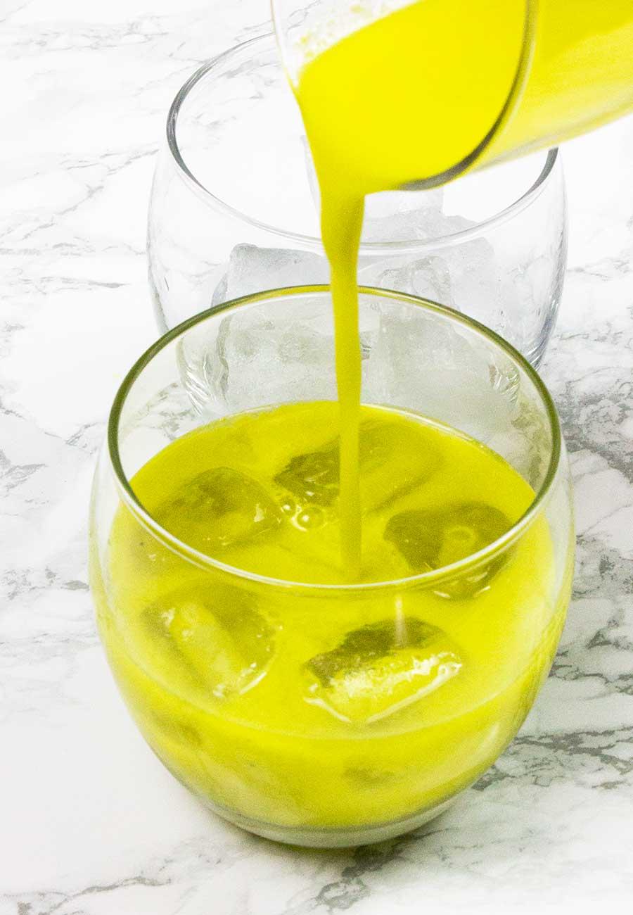 Homemade orange and basil juice
