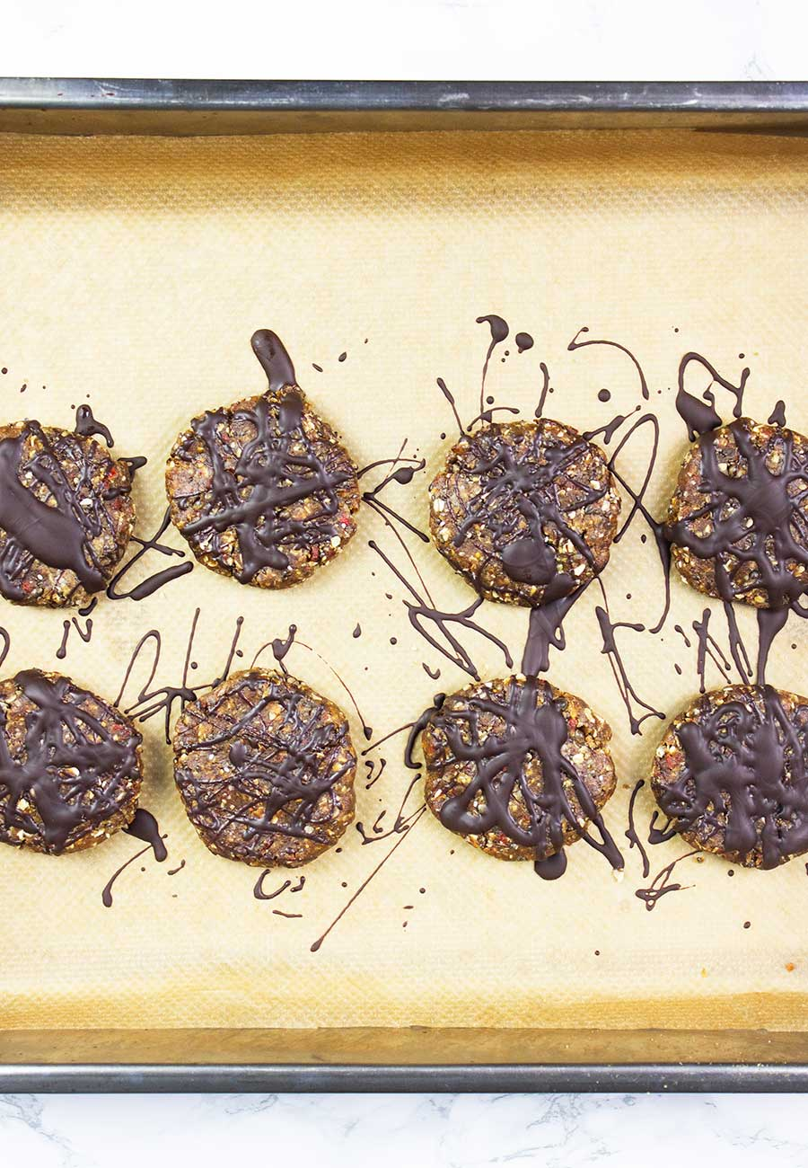 Homemade protein bar cookies on a tray