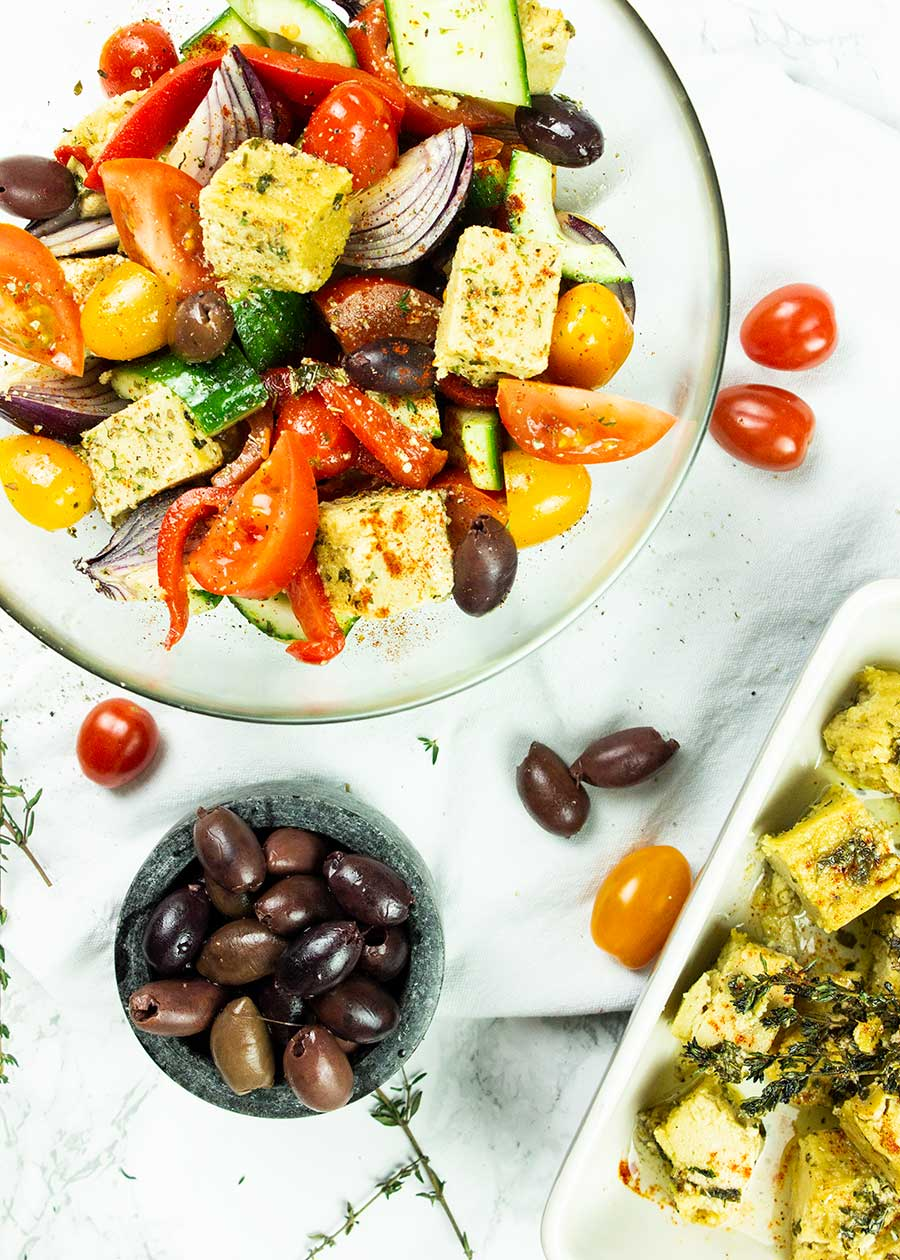 Mediterranean salad with vegan feta