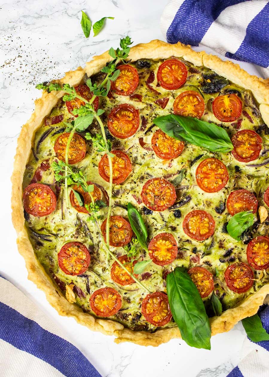 Mediterranean vegan quiche recipe