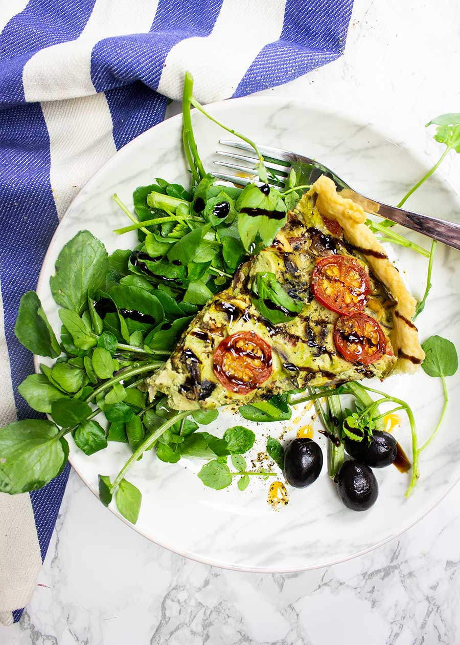Healthy quiche that is made with plant-based ingredients