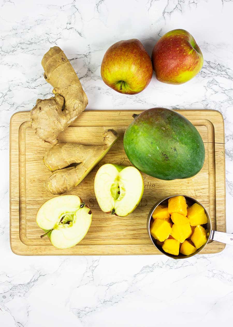 Mango, apples, ginger