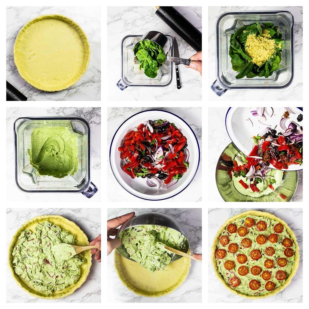 Step-by-step vegan quiche
