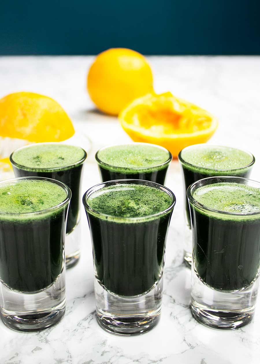 Wellness shot with spirulina