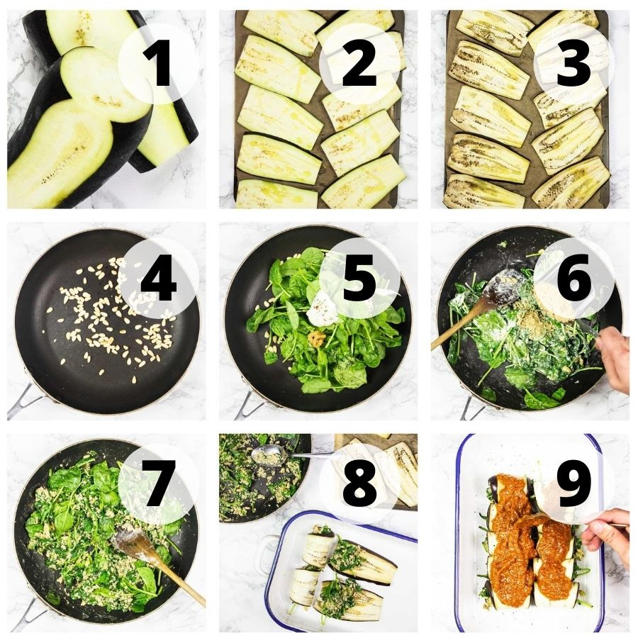 Step-by-step vegan eggplant rollatini