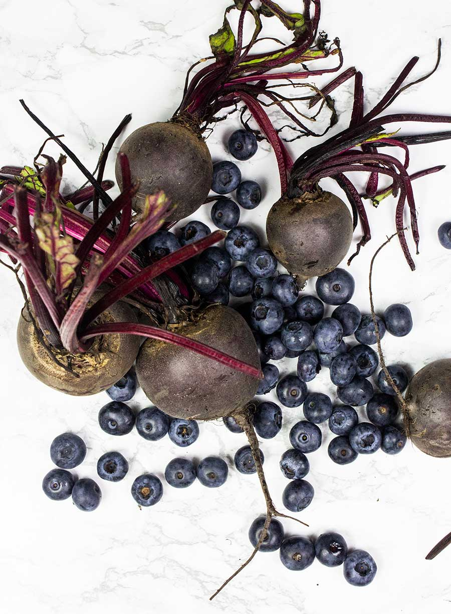 Beetroot and blueberries