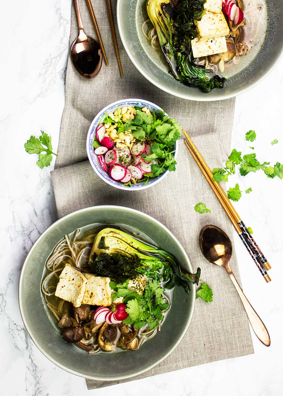 Healing Japanese broth with noodles and plants
