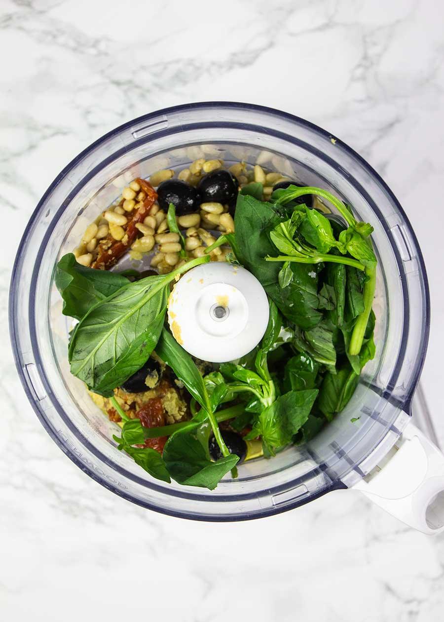 How to make black olive pesto
