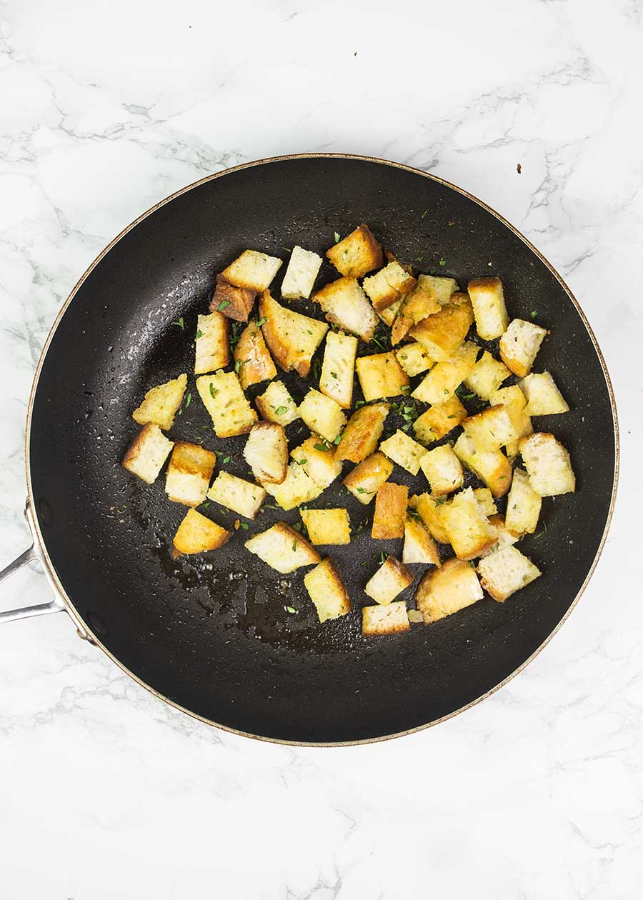 Sourdough croutons in a pan