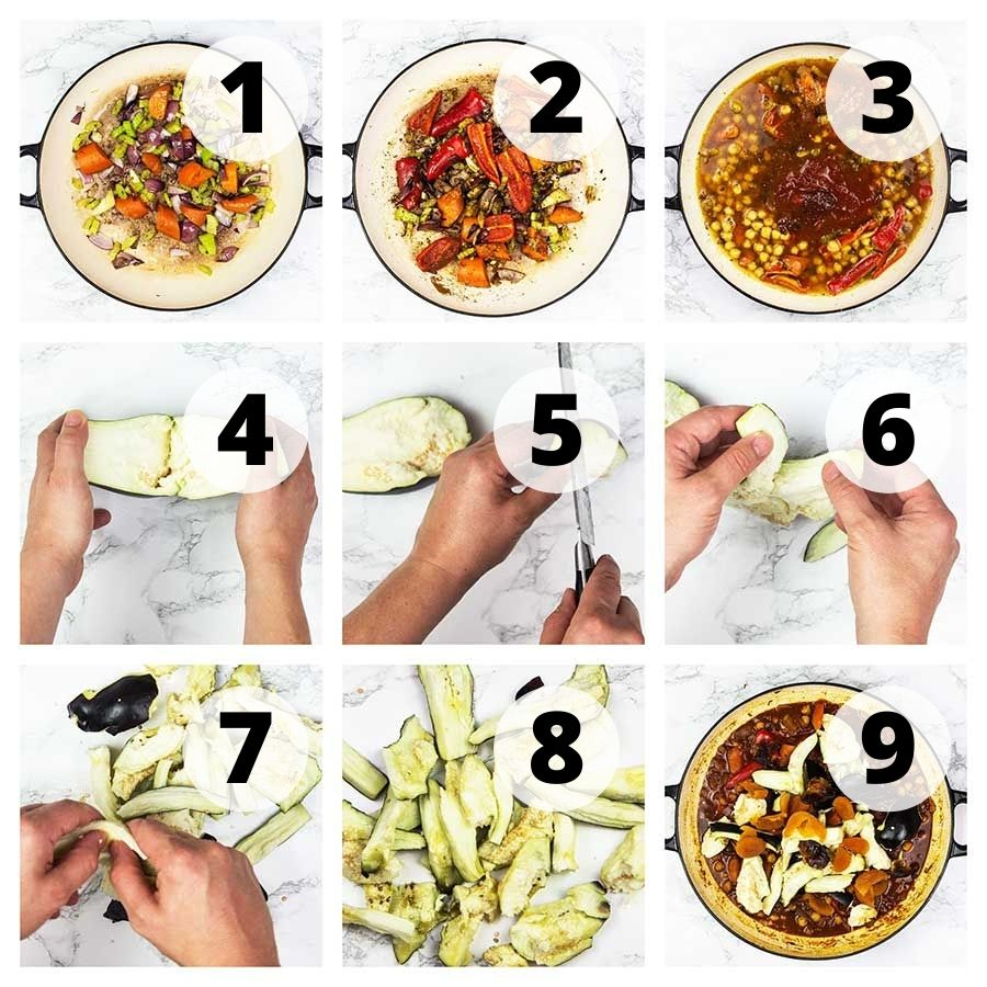 Step by step vegetable tagine