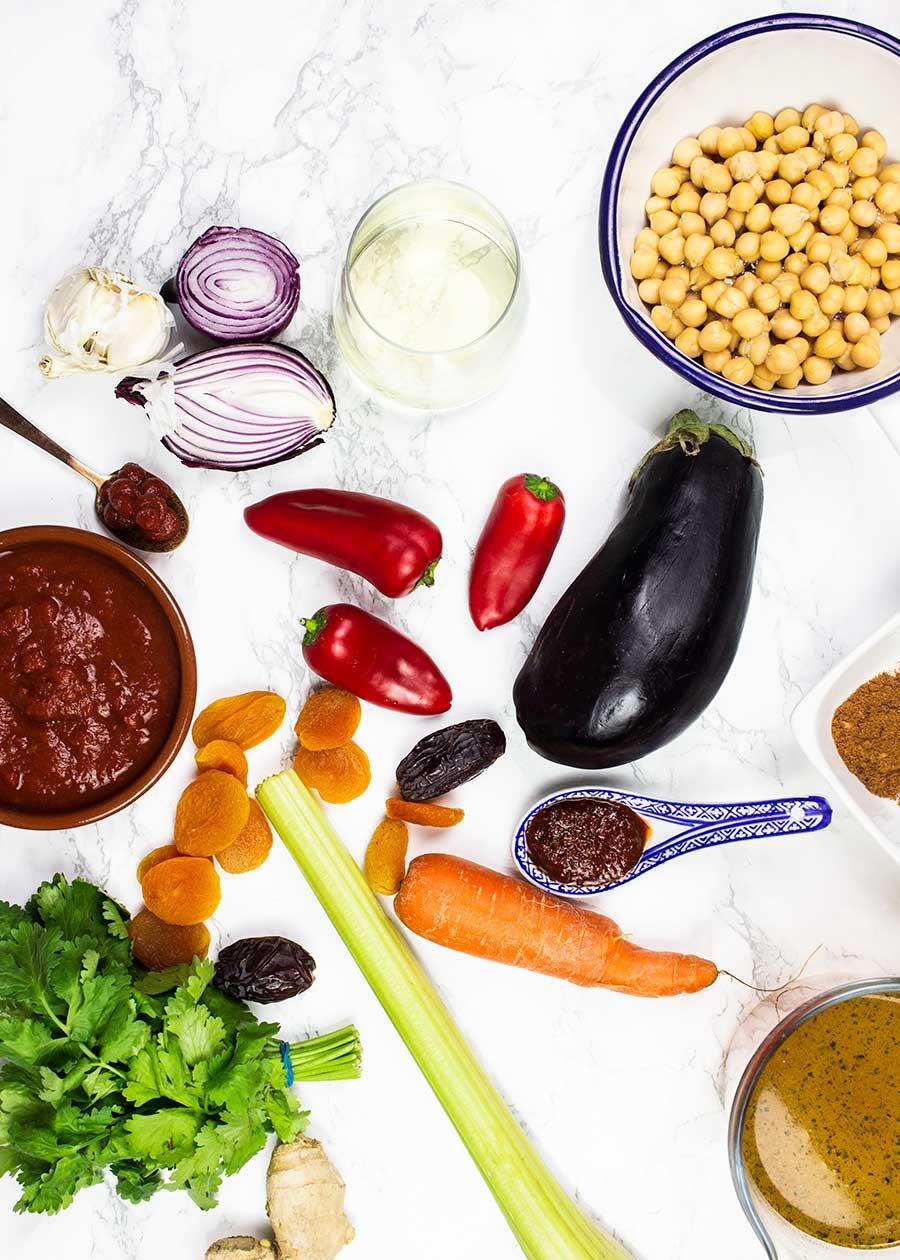 Vegetable tagine ingredients