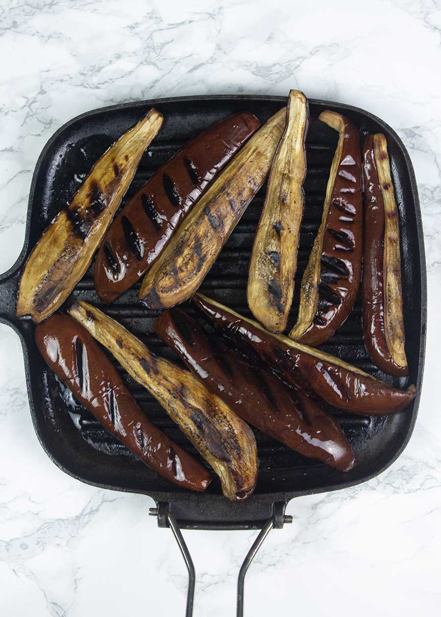 Frying roasted eggplant slices