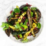 Aubergine courgette salad with pomegranate