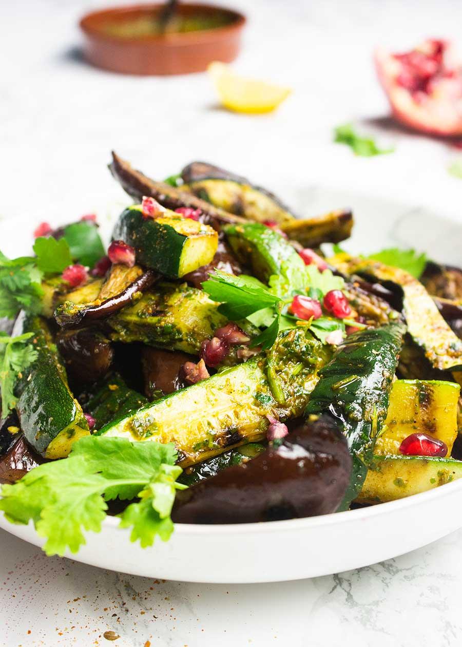Aubergine courgette salad