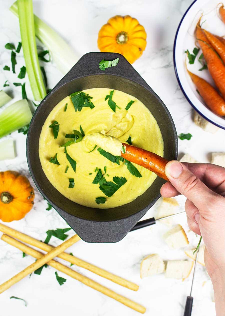 Healthy pumpkin fondue