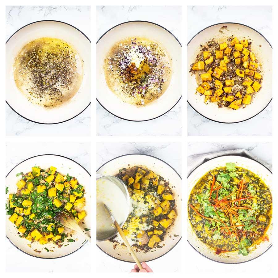 step-by-step pumpkin curry