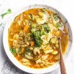 Chunky healthy minestrone soup
