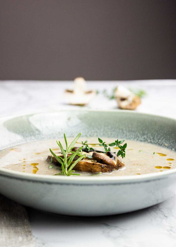 Flavoursome creamy mushroom soup that is plant-based