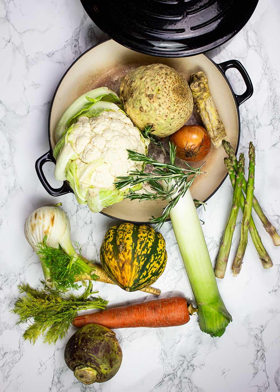 Winter vegetables for vegan vegetable stew
