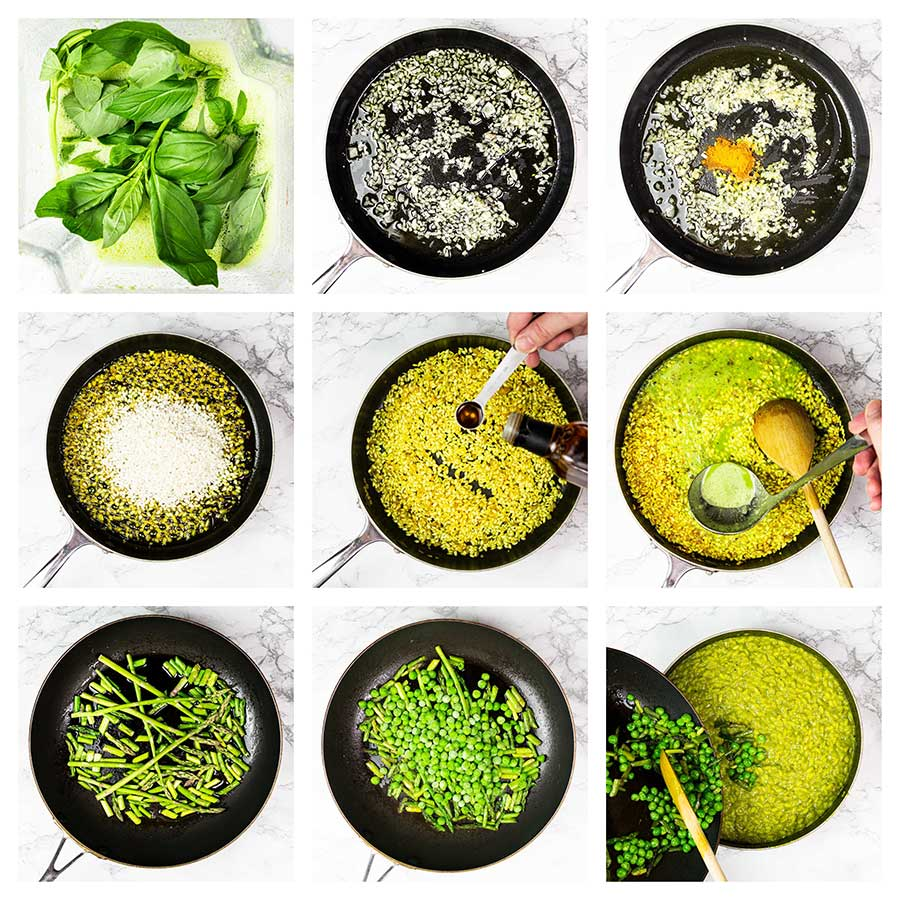 Step-by-step green risotto