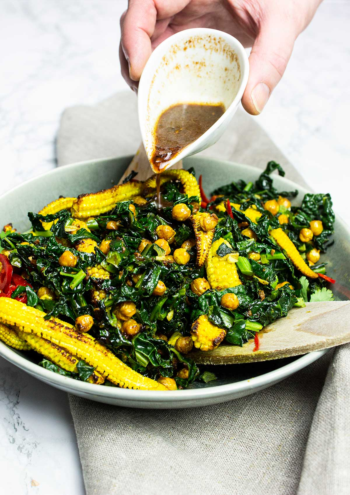 Asian kale salad with chickpeas